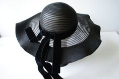Hey, I found this really awesome Etsy listing at https://www.etsy.com/listing/193859575/glamour-vintage-40s-black-straw-hat-with