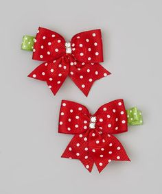 This Snuggle Bug Kidz Red & White Polka Dot Clip Set by Snuggle Bug Kidz is perfect! #zulilyfinds