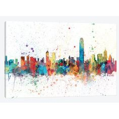 East Urban Home 'Rainbow Splash Skyline Series: Hong Kong, People's Republic Of China' by Michael Tompsett Painting Print on Wrapped Canvas Size: 2...