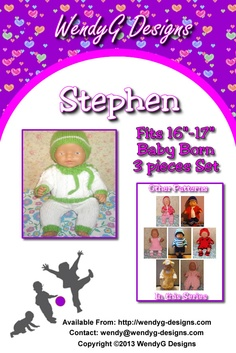 """****STEPHEN****  ***KNITTING PATTERN ONLY***   To fit 16-17"""" Baby born or similar size dolls  Pattern contains instructions for Jumper, trousers, and earflap hat."""