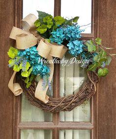 Grapevine Hydrangeas Front Door Wreath-Wedding by WreathsbyDesign1
