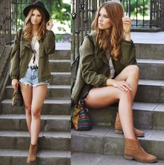 Olive Utility Jacket + White Lace Top + Denim Cutoffs + Brown Flat Suede Ankle Boots