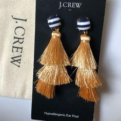 J. Crew Jewelry | Jcrew Gold 3 Tier Tassel Earrings Nwt | Poshmark Rose Earrings, Tassel Earrings, Silver Roses, Black Gold, Tassels, J Crew, Women Jewelry, Polka Dots, Things To Sell