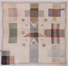 Darning Samplers provided patterns to use in reweaving wool garments, as well as showing a young girl's skill with her needle. This one dates to 1839