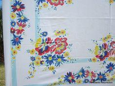 Vintage 1950s Printed Tablecloth-Fabulous Floral- 48 x 62. $16.00, via Etsy.