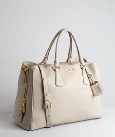 Prada pumice grey deerskin multi-pocket tote | BLUEFLY up to 70% off designer brands at bluefly.com