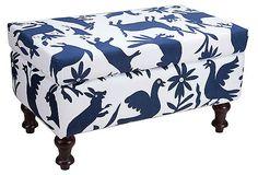 bold patterned ottomans