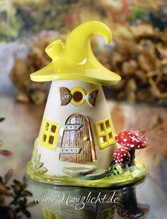 Windlicht Keramik Elfenhaus - gelb mit Fliegenpilzen - 2tlg in Antiquitäten & Kunst, Porzellan & Keramik, Keramik   eBay!