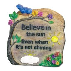 """Written In Stone Polystone Message Rock - Believe by Banberry Designs. $5.99. Written In Stone Polystone Message Rock - Believe. Realistic polystone rock carved with a message on the front. Makes a fun gift for anyone, for any occasion. Individually boxed. Approx. size is 2.5"""" x 2.5""""."""