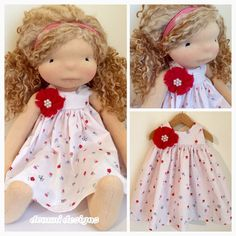 Waldorf doll dress and head tie 16-20 by DommiDesigns on Etsy