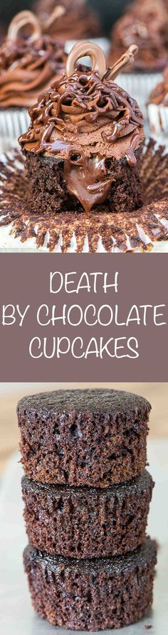 Death by Chocolate Cupcakes have chocolate ganache filling, chocolate frosting, chocolate sprinkles, a creamy ganache drizzle and chocolate sprinkles. Chocolate Candy Melts, Death By Chocolate, Chocolate Sprinkles, Chocolate Cupcakes, Chocolate Lovers, Chocolate Chocolate, Cupcake Frosting, Cupcake Cakes, Sweets Cake