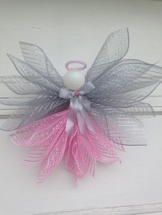 Silver and Pink Deco Mesh Angel