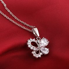 45.5cm Butterfly Shape Pendant Inlay Zircon Fashion Copper Necklace Two Colors Choose