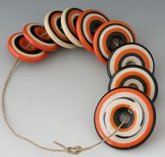 Southwest Discs  9 Handmade Lampwork Beads  Coral Black by outwest, $29.00