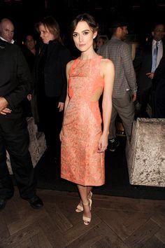 Celebridades con vestidos naranja. Toques cítricos en la alfombra roja  Keira Knightley