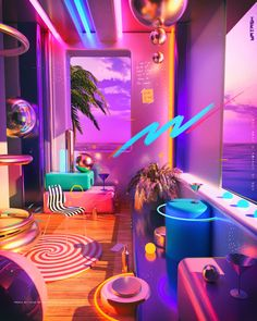 Prateek Vatash is a graphic artist based in Bangalore, India. He shared on his Behance, an illustration series entitled: Space Escape. Vaporwave, Purple Tumblr, Neon Led, 80s Neon, Magazin Design, New Retro Wave, Neon Room, Retro Room, Neon Aesthetic