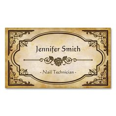 Nail Technician - Elegant Vintage Antique Double-Sided Standard Business Cards (Pack Of 100). This is a fully customizable business card and available on several paper types for your needs. You can upload your own image or use the image as is. Just click this template to get started!