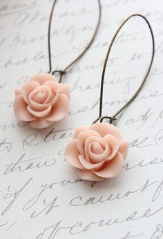 Rose Earrings Light Pink Rose Long Dangle