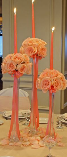 Beautiful Peach...Ribbons and candles make this centerpiece a beauty..