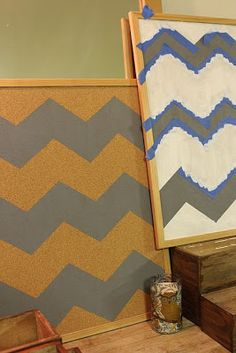 Brown Bunny Flowers: { painted chevron bulletin boards }