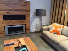 Designer Fire 'Santiago' fireplace on The Block Glasshouse - Chris & Jenna's living room (room re-do)