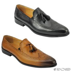 Mens New Real Leather Black Tan Vintage Tassel Brogue Loafers Smart Formal Shoes
