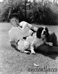 Bing Crosby and his springer dog