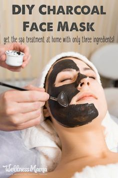 Make your own charcoal face mask with bentonite clay, activated charcoal powder, and raw honey for smoother skin and fewer breakouts!