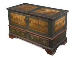A Very Rare Chippendale Paint-Decorated Poplar Blanket Chest, Probably Montgomery County, New Hanover Township, Pennsylvania, Dated 1775 - Sotheby's
