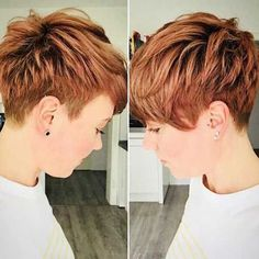Short Copper Hair 2018 Latest short haircuts for that will give you a stunning look. Pixie cuts, bob hairstyles, shaggy and edgy short haircut, textured bobs and more. Short Pixie Haircuts, Short Hair Cuts, Undercut Pixie Haircut, Short Undercut, Undercut Hairstyles, Red Pixie Haircut, Style Short Hair Pixie, Short Hair Colour, Brown Pixie Hair