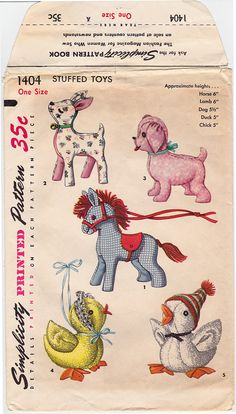 1950s Simplicity 1404 Horse Lamb Dog Chic Duck Stuffed Animals Vintage Sewing Pattern ORIGINAL Toy Sew Crafts Pets CUT/UNCUT