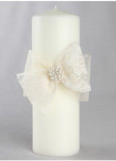 Intricate scalloped lace bows with a pretty pearl and rhinestone pin give this pillar candle an antique, yet whimsical feel.    Pillar Available in white or ivory.