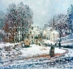 Claude Monet (French, 1840-1926) - The Grand Street Entering to Argenteuil, Winter, 1885.