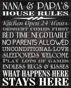 Printable Nana and Papa's House Rules Subway by DesignsbyLindaNee