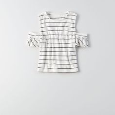 AE Soft & Sexy Ribbed Cold Shoulder T-Shirt ($25) ❤ liked on Polyvore featuring tops, t-shirts, white, crew neck tee, slim fit white t shirt, cold shoulder tops, slim fit crew neck t shirts and sexy t shirts