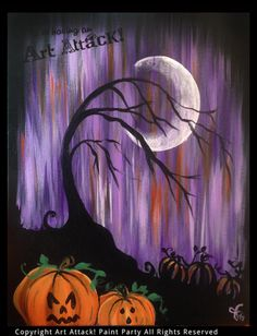 Halloween Canvas Paintings, Fall Canvas Painting, Halloween Painting, Autumn Painting, Autumn Art, Halloween Art, Diy Painting, Painting & Drawing, Canvas Art