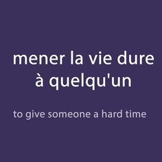 French expression of the day: mener la vie dure à quelqu'un -to give someone a hard time