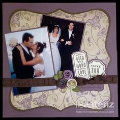 I am soooo scraplifting this for our wedding album! Stunning & Layout& by Lisa Stenz. Wedding Scrapbook Pages, Paper Bag Scrapbook, Love Scrapbook, Scrapbook Sketches, Scrapbook Page Layouts, Scrapbook Albums, Scrapbook Cards, Scrapbook Borders, Scrapbook Photos