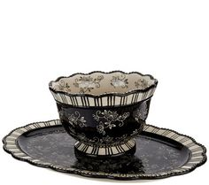 Temp-tations Floral Lace 2 qt. Bowl with Platter in Blue