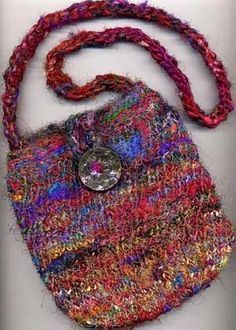 Knitted Bags Free Patterns : Knitted bag - EASY! Basically a loom knitted hand and finger knit ...