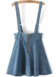 Blue Strap Zipper Denim Skirt