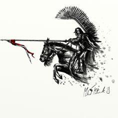 ArtStation - Husarz na koniu / Hussar on horseback, Michał Matuszak Polish Tattoos, Be Brave Tattoo, Warrior Tattoos, Ange Demon, Harry Potter Tattoos, Tattoo Drawings, Tattoo Inspiration, Character Art, Viking Character