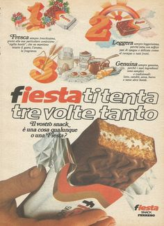 FIESTA tempts you three times as much – Ferrero – Advertising 1977 – Advertising Vintage Italy, Vintage Ads, Vintage Posters, Vintage Advertising Posters, Old Advertisements, Ebay Advertising, Nostalgia, Non Plus Ultra, Illustration Story