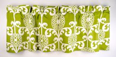 Green Valance With Beige Floral Pattern Waverly by LaRicaHome, $36.95