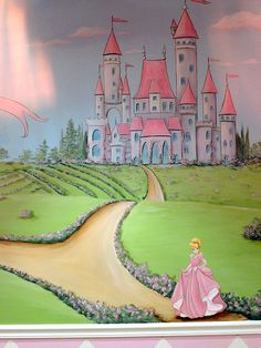 Pink Princess Nursery Mural. Would love to do this with Princess Peach.