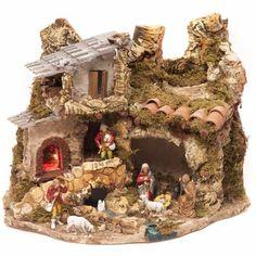 Capanna borgo presepe con fuoco 28x38x28 cm