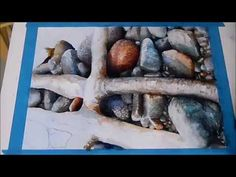 (2725) Stones,pebbles and roots. Watercolor painting by Rukiye Garip - YouTube