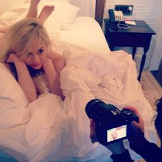 """Emily Kinney """"Cozy, Sleepy Saturday after a busy week.  (behind the scenes photo from shoot with""""."""