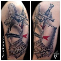 Black And Grey Armor Of God Tattoo