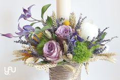 yau flori+lumanare de botez colorata